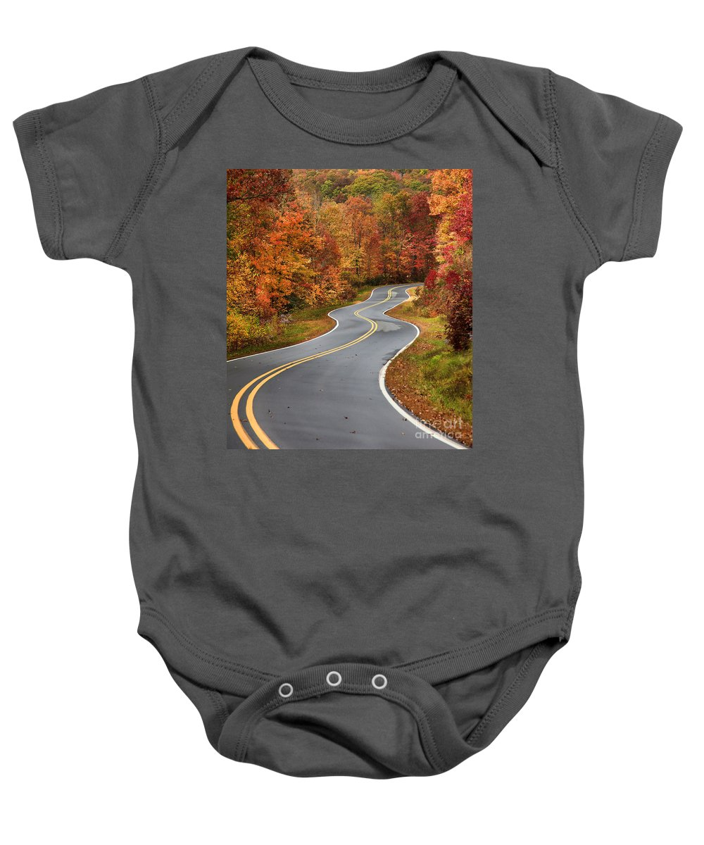 Autumn Road Baby Onesie featuring the photograph Curvy Road In The Mountains by Jill Lang