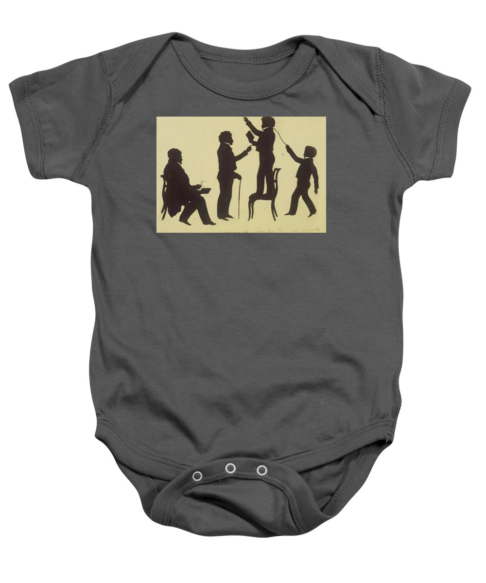 Cut Baby Onesie featuring the painting Cut Silhouette Of Four Full Figures 1830 by Edouart Auguste
