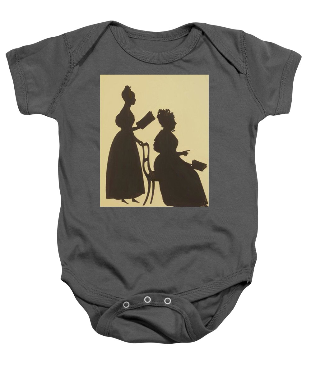Cut Baby Onesie featuring the painting Cut Silhouette Of Two Women Facing Right 1837 by Edouart Auguste