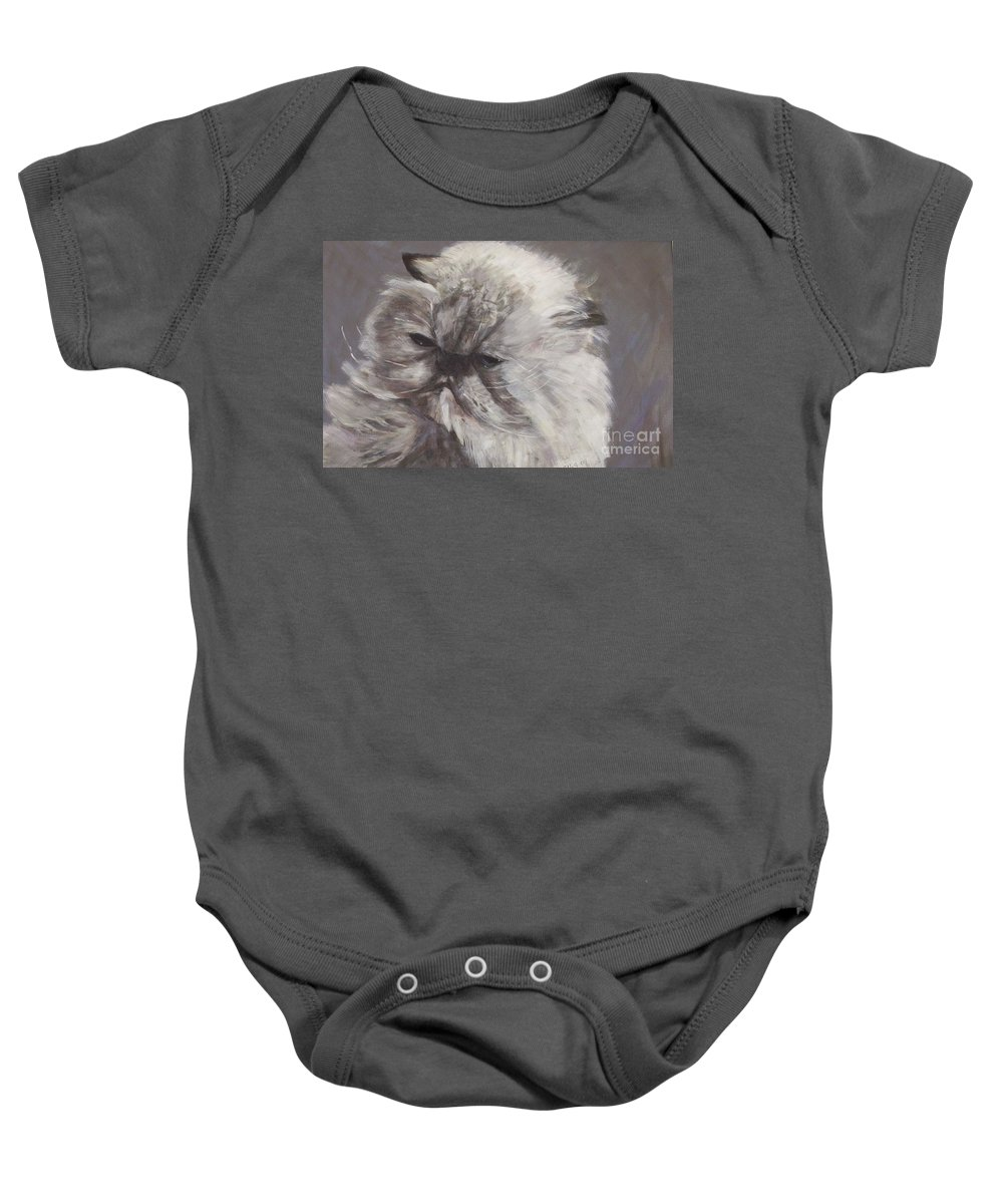 Himalayan Cat Baby Onesie featuring the painting Cynthia by Elizabeth Ellis