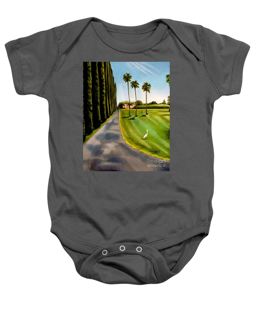 Landscape Baby Onesie featuring the painting Cypress Palms by Elizabeth Robinette Tyndall
