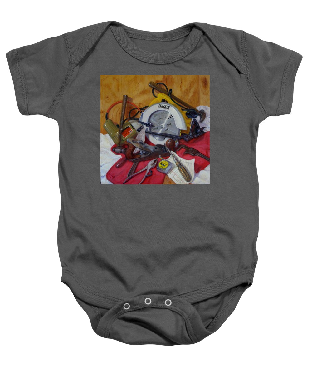 Realism Baby Onesie featuring the painting D. I. Y. 2  by Donelli DiMaria