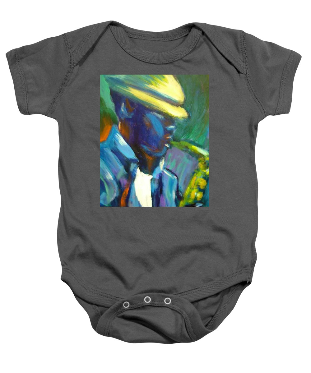Sax Player Baby Onesie featuring the painting D by Jan Gilmore