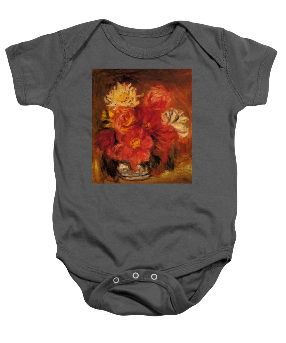 Dahlias Baby Onesie featuring the painting Dahlias by Renoir PierreAuguste