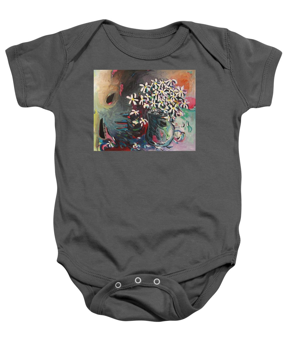 Daisy Paintings Baby Onesie featuring the painting Daisy In Vase by Seon-Jeong Kim