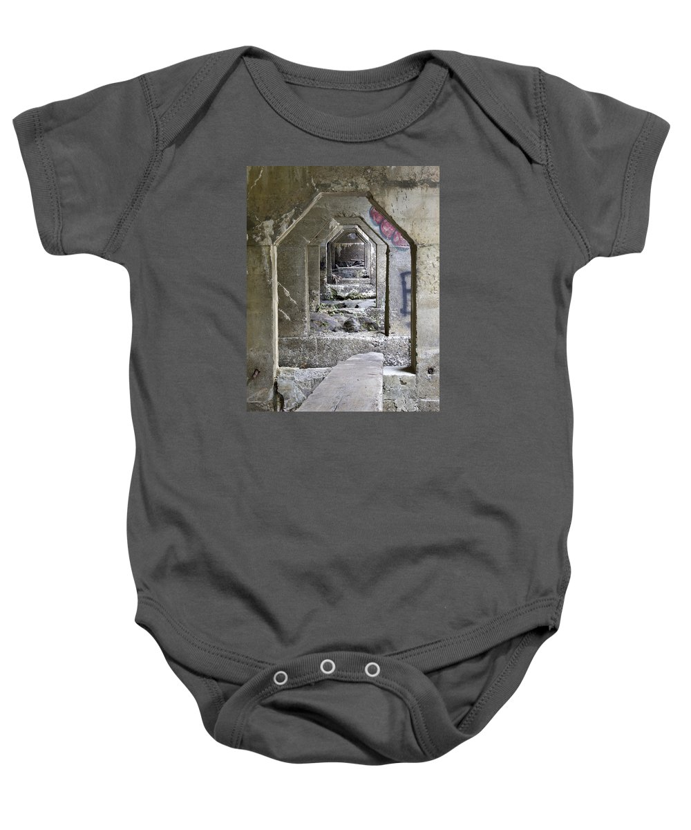 Dam Baby Onesie featuring the photograph Dam Above Garwin Falls, Wilton, Nh by Betty Denise