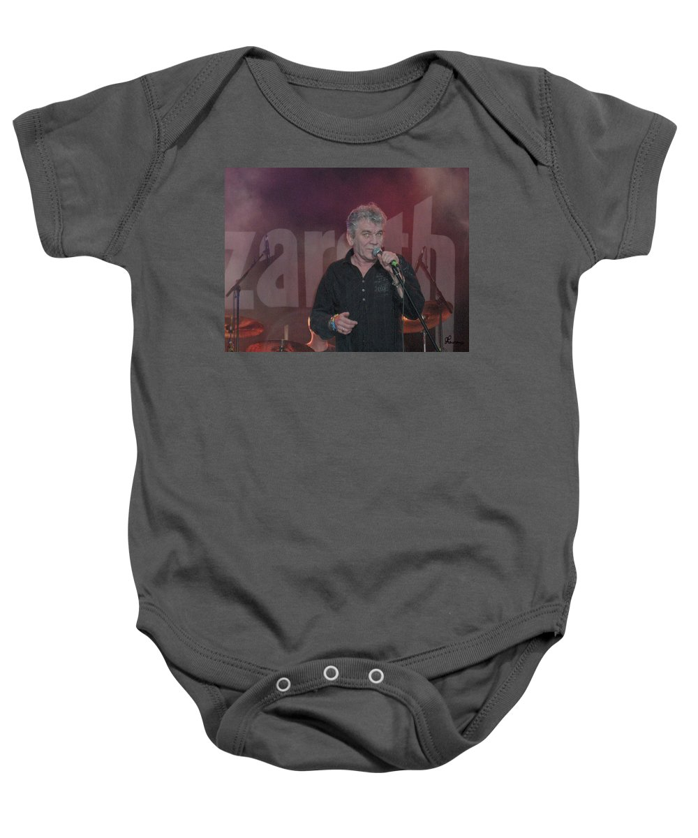 Dan Mcafferty Nazareth Band Music Classic Rock And Roll Singer Baby Onesie featuring the photograph Dan Mccafferty by Andrea Lawrence