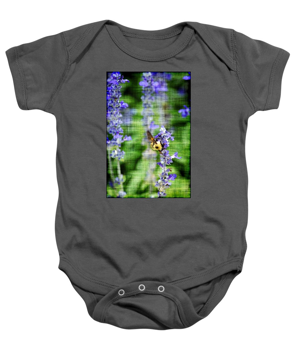 Bees Baby Onesie featuring the photograph Dance Of The Bubblebee by Donna Bentley