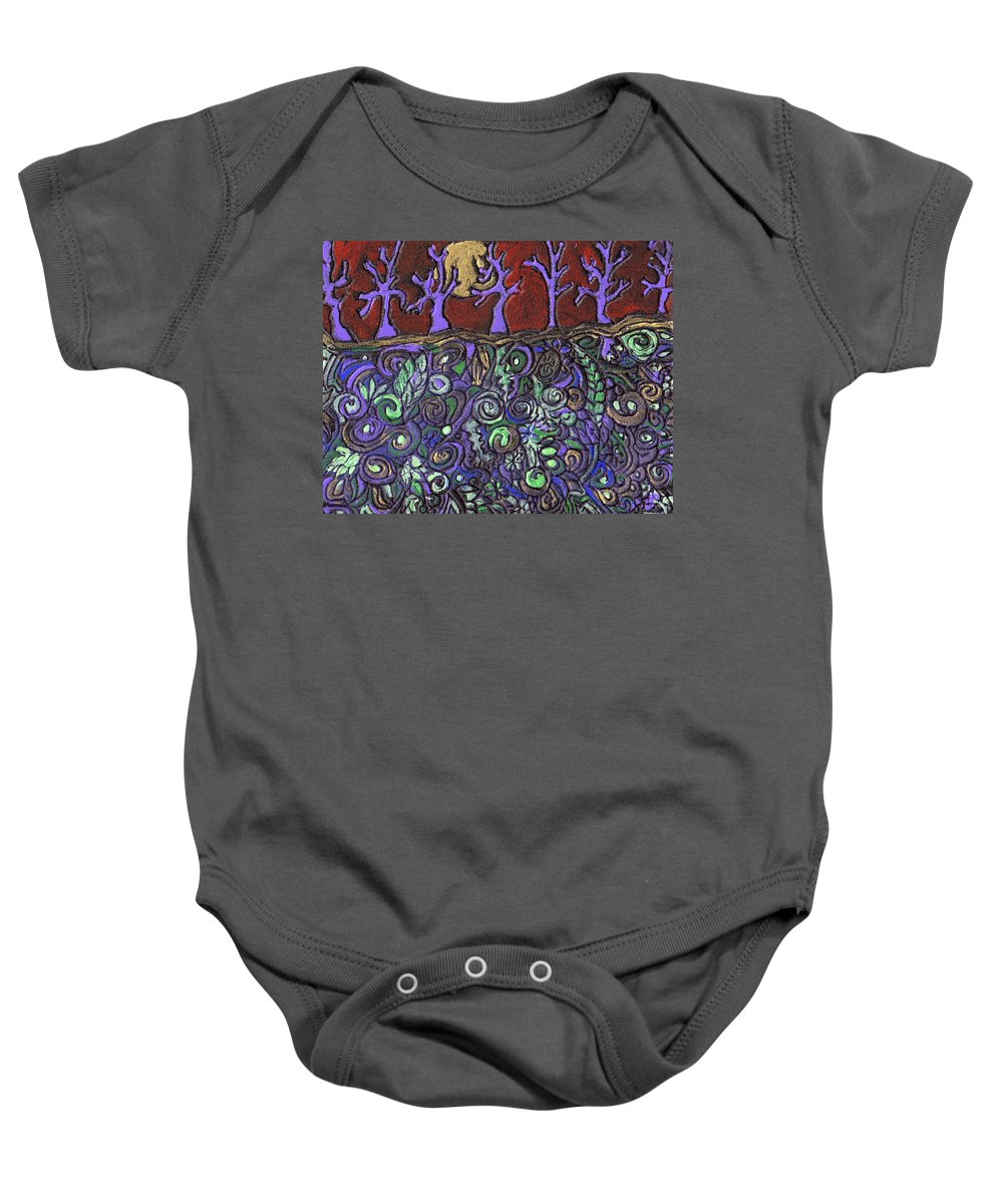 Trees Baby Onesie featuring the painting Dancing With The Trees by Wayne Potrafka