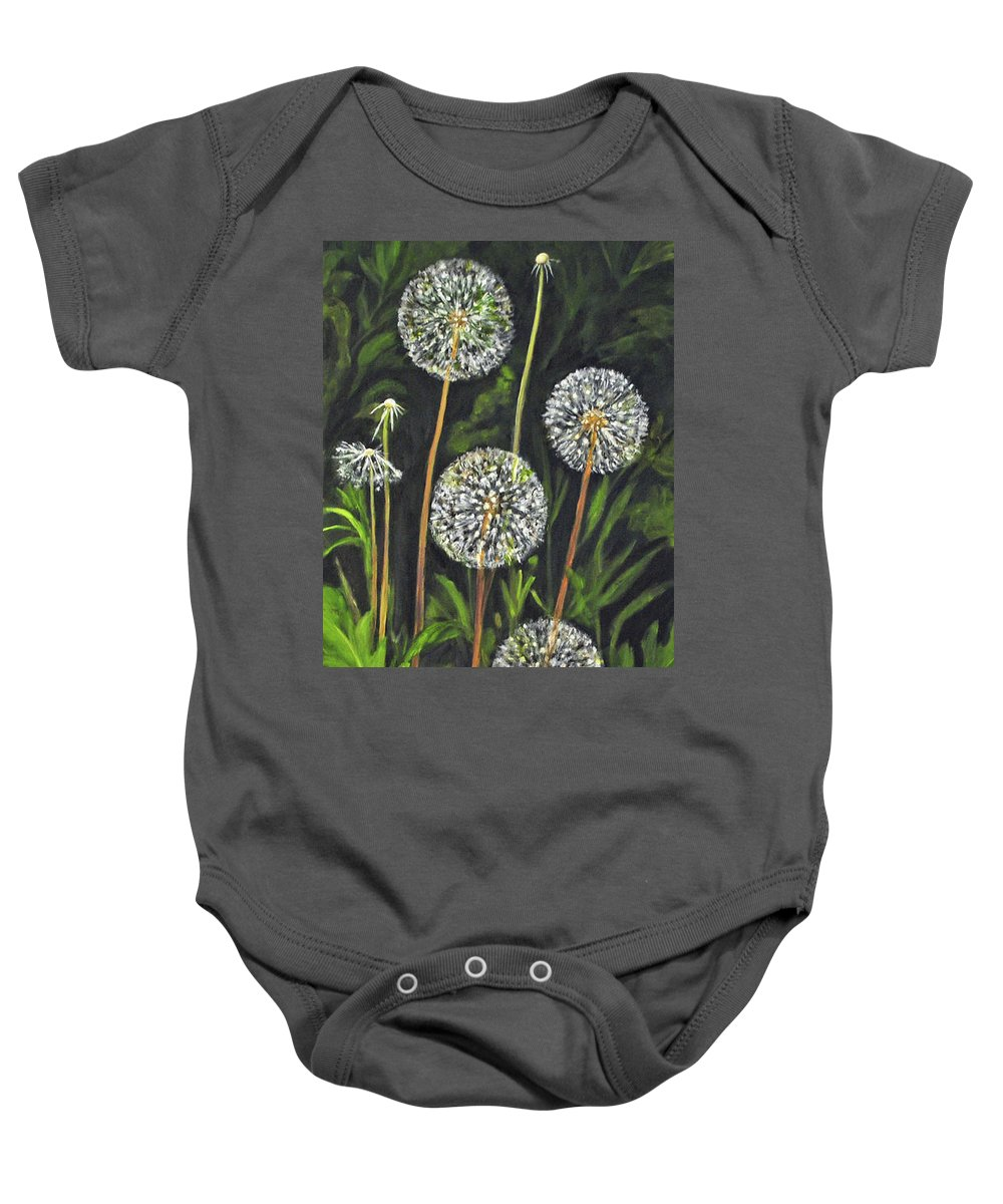Dandelion Baby Onesie featuring the painting Dandelion Puff by Carolyn Shireman