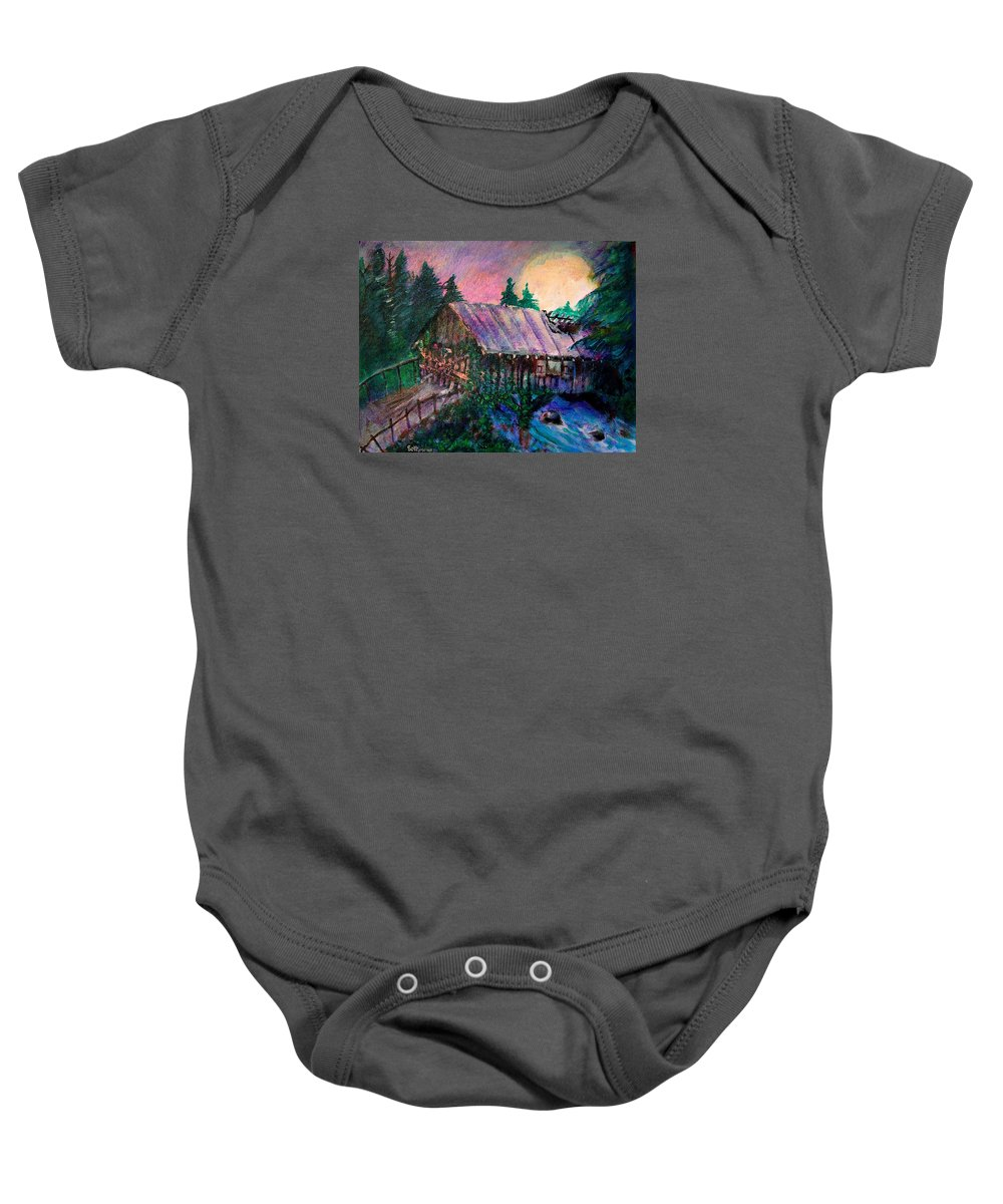 Dangerous Bridge Baby Onesie featuring the painting Dangerous Bridge by Seth Weaver
