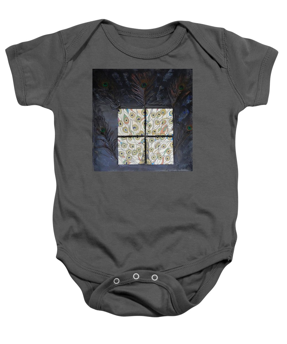 Peacock Baby Onesie featuring the mixed media Dare To Be Different I Peacock by Kruti Shah