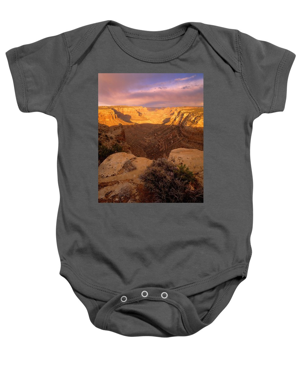 Dark Canyon Wilderness Baby Onesie featuring the photograph Dark Canyon Sunset by Leland D Howard