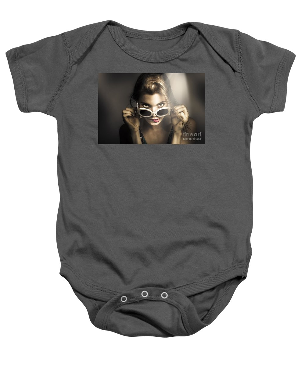 Dark Baby Onesie featuring the photograph Dark Fashion Pinup Model by Jorgo Photography - Wall Art Gallery