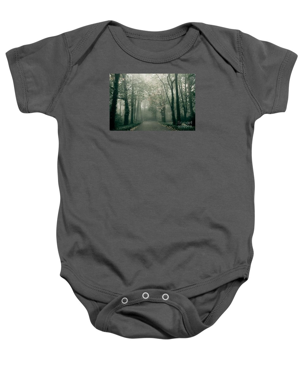 Fall Baby Onesie featuring the photograph Dark Gloomy Alley In Woods by Arletta Cwalina