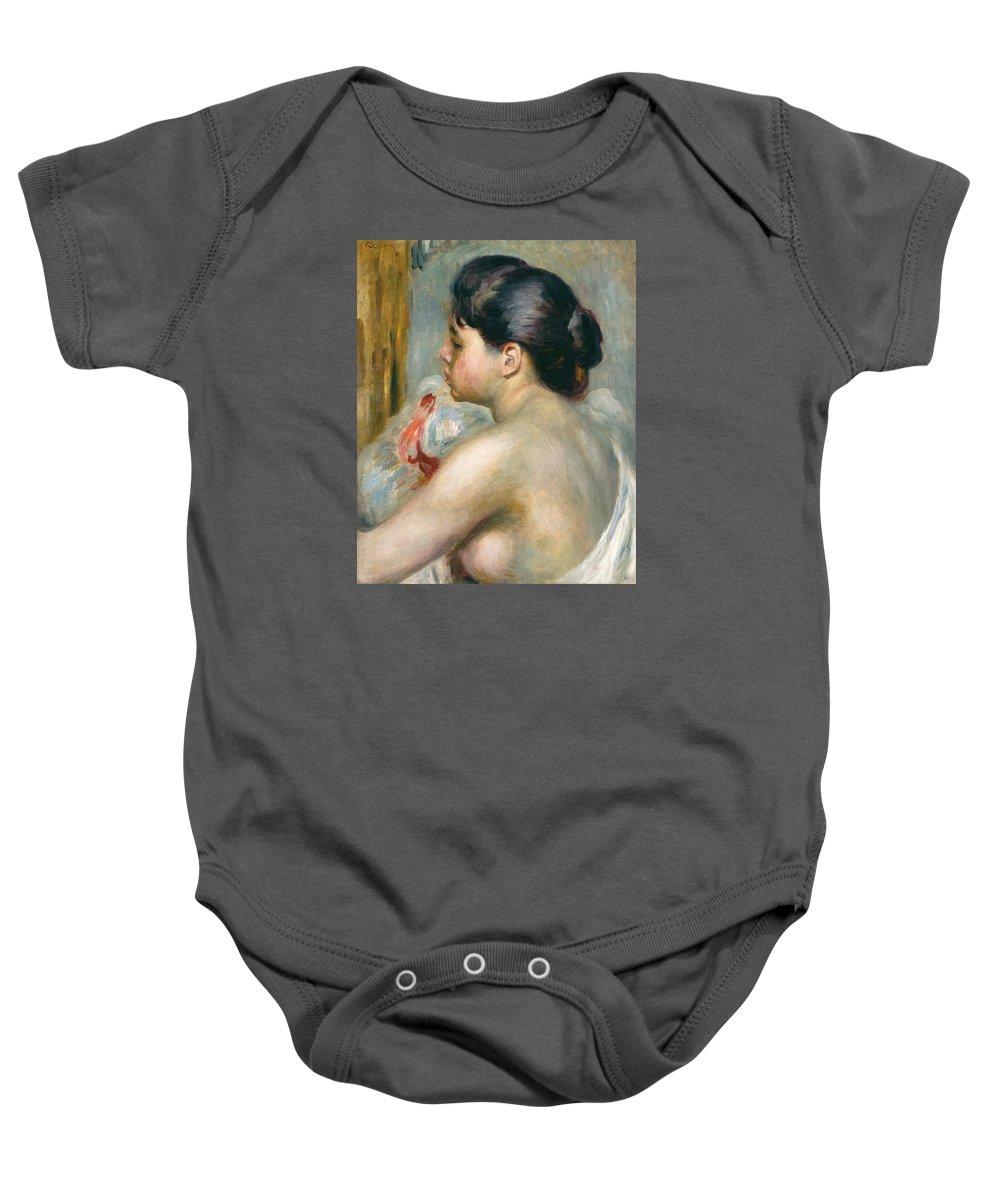 Pierre Auguste Renoir Baby Onesie featuring the painting Dark-haired Woman by Pierre Auguste Renoir