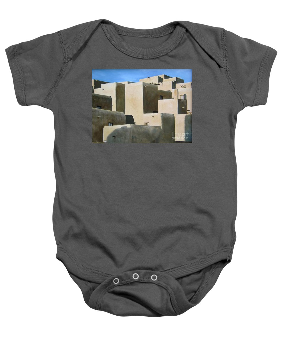 Art Baby Onesie featuring the painting Dark Shadows by Mary Rogers