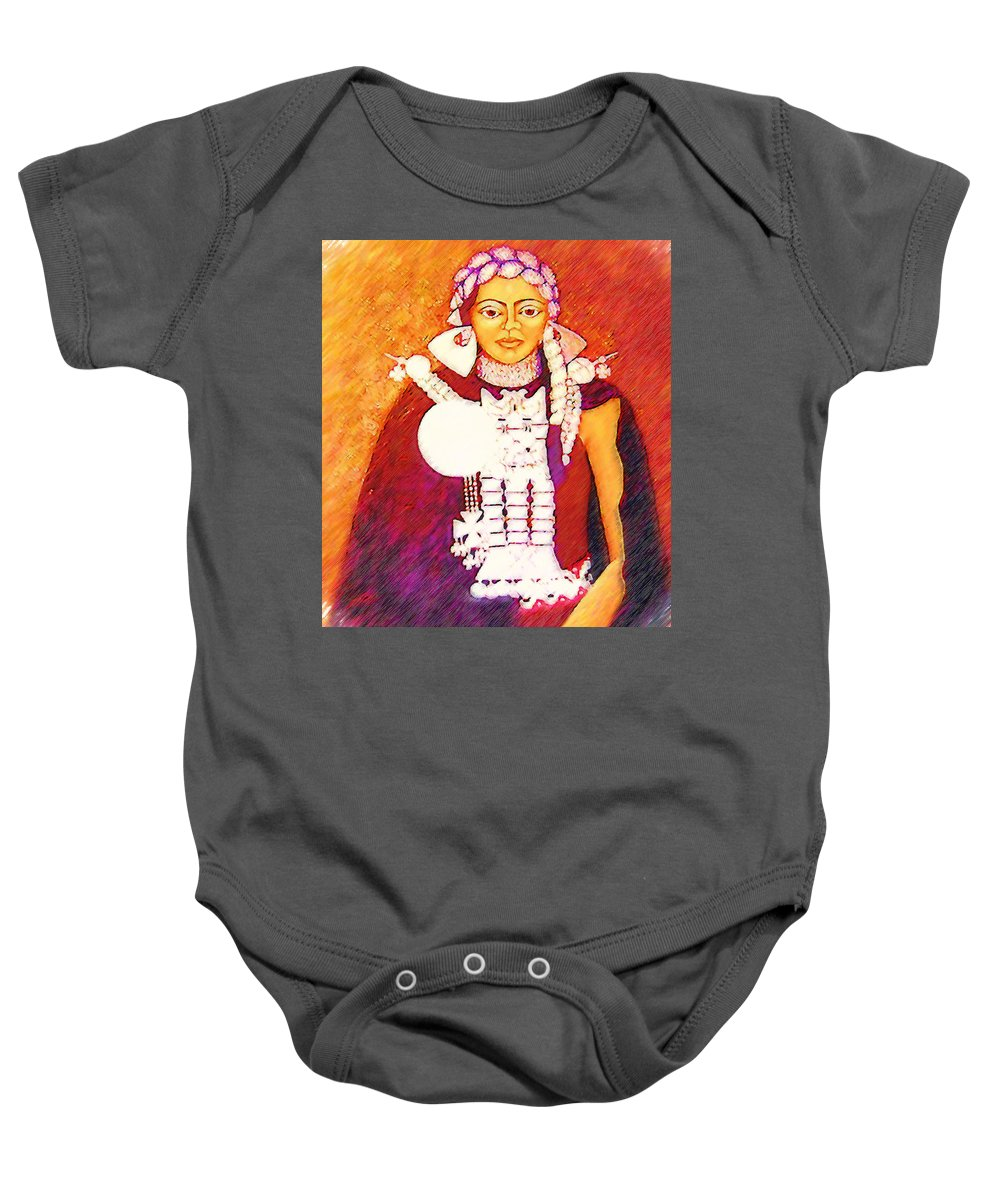 Portrait Baby Onesie featuring the painting Daughter Of The Bright Sun - Kushe by Madalena Lobao-Tello