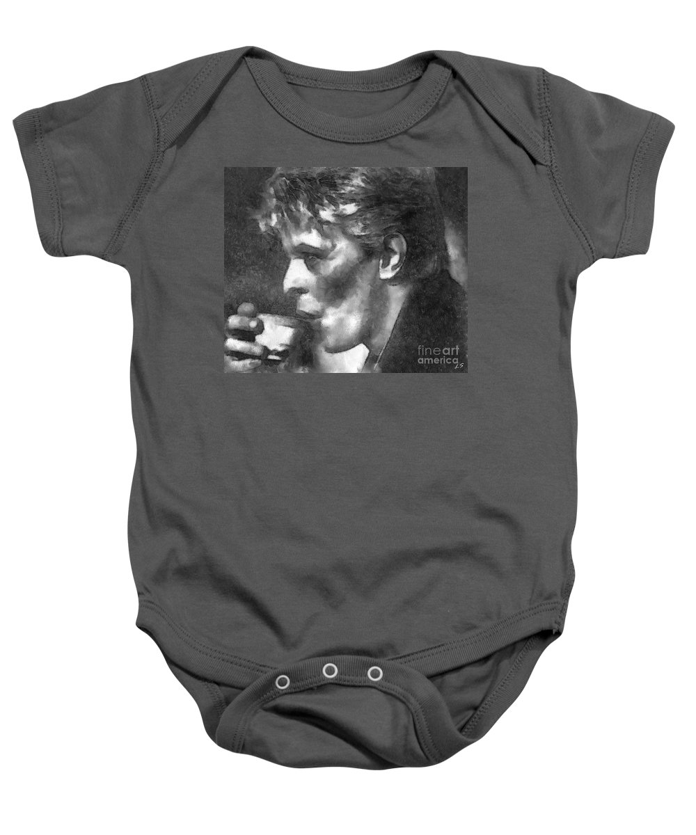 David Bowie Baby Onesie featuring the drawing David Bowie Collection - 9 by Sergey Lukashin