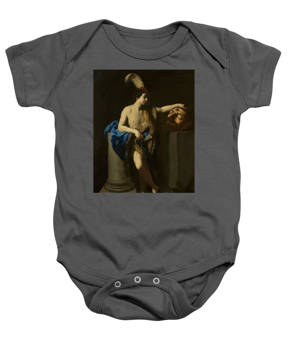 David Baby Onesie featuring the painting David With The Head Of Goliath by Reni Guido