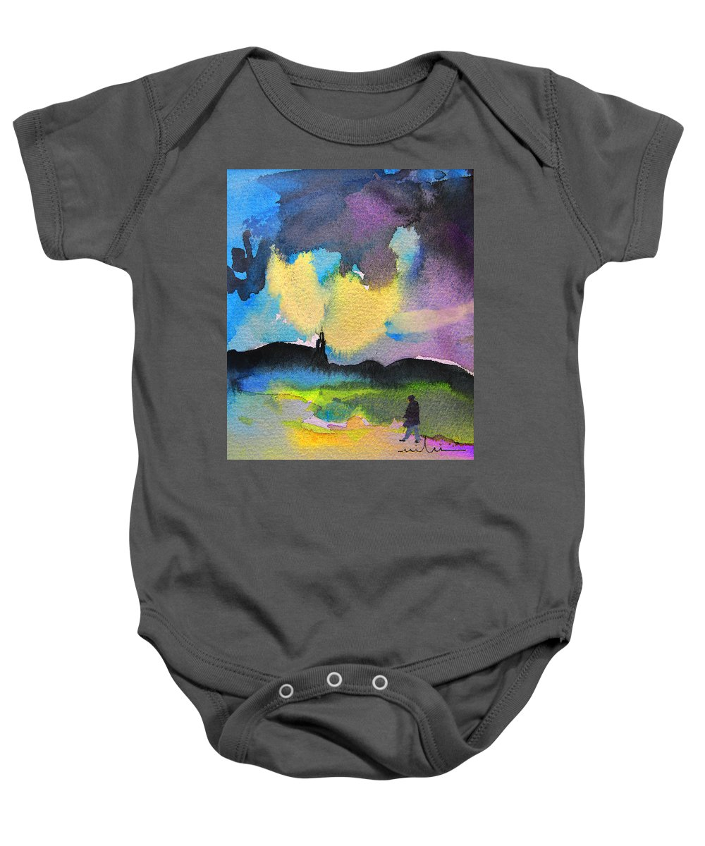 Watercolour Painting Baby Onesie featuring the painting Dawn 05 by Miki De Goodaboom