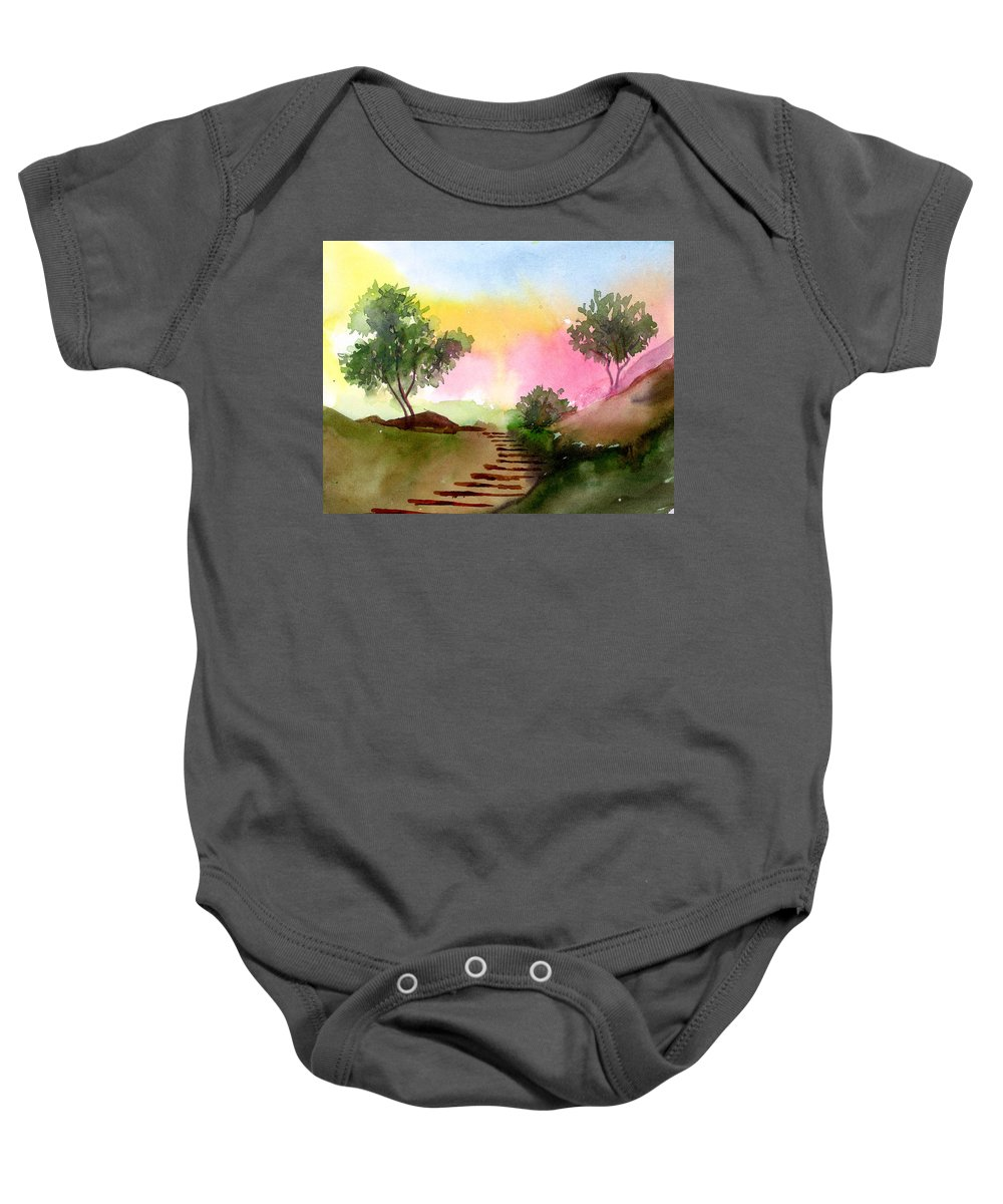 Landscape Baby Onesie featuring the painting Dawn by Anil Nene