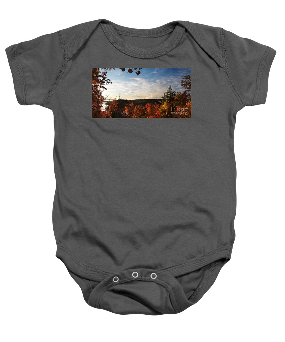 Autumn Baby Onesie featuring the photograph Dawn At Algonquin Park Canada by Oleksiy Maksymenko