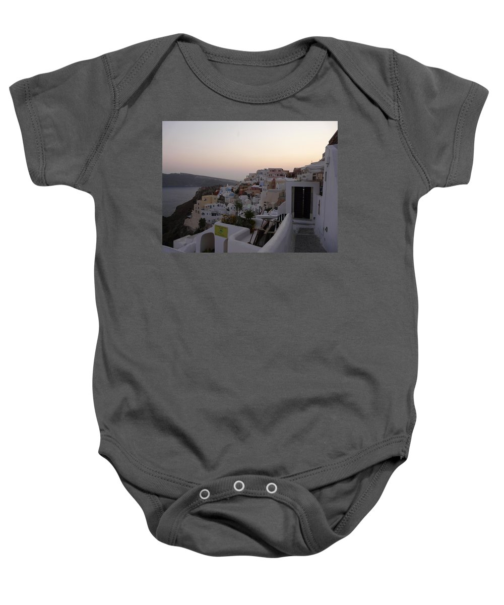 Landscape Baby Onesie featuring the photograph Dawn In Oia Santorini Greece by Valerie Ornstein