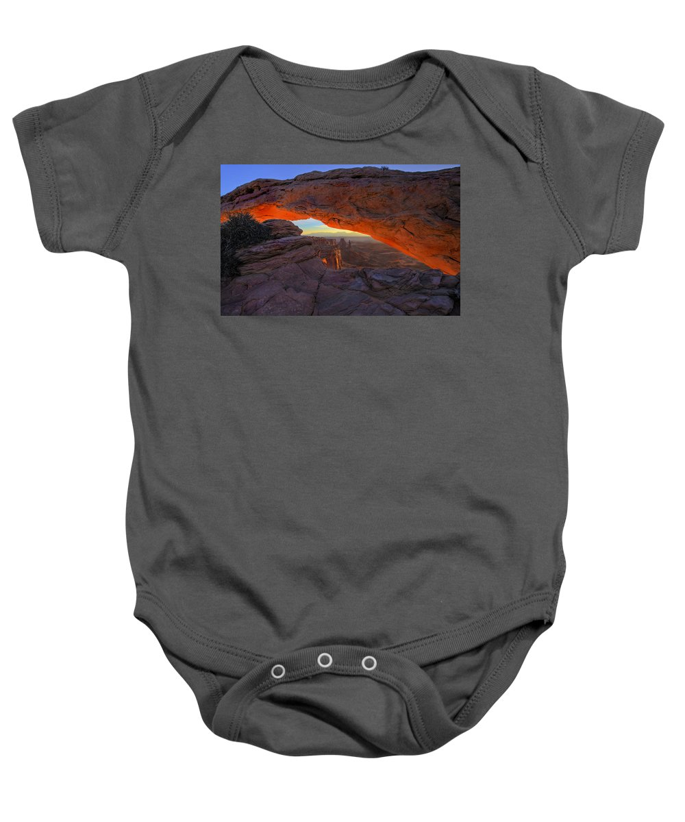 Mesa Arch Baby Onesie featuring the photograph Dawns Early Light by Mike Dawson