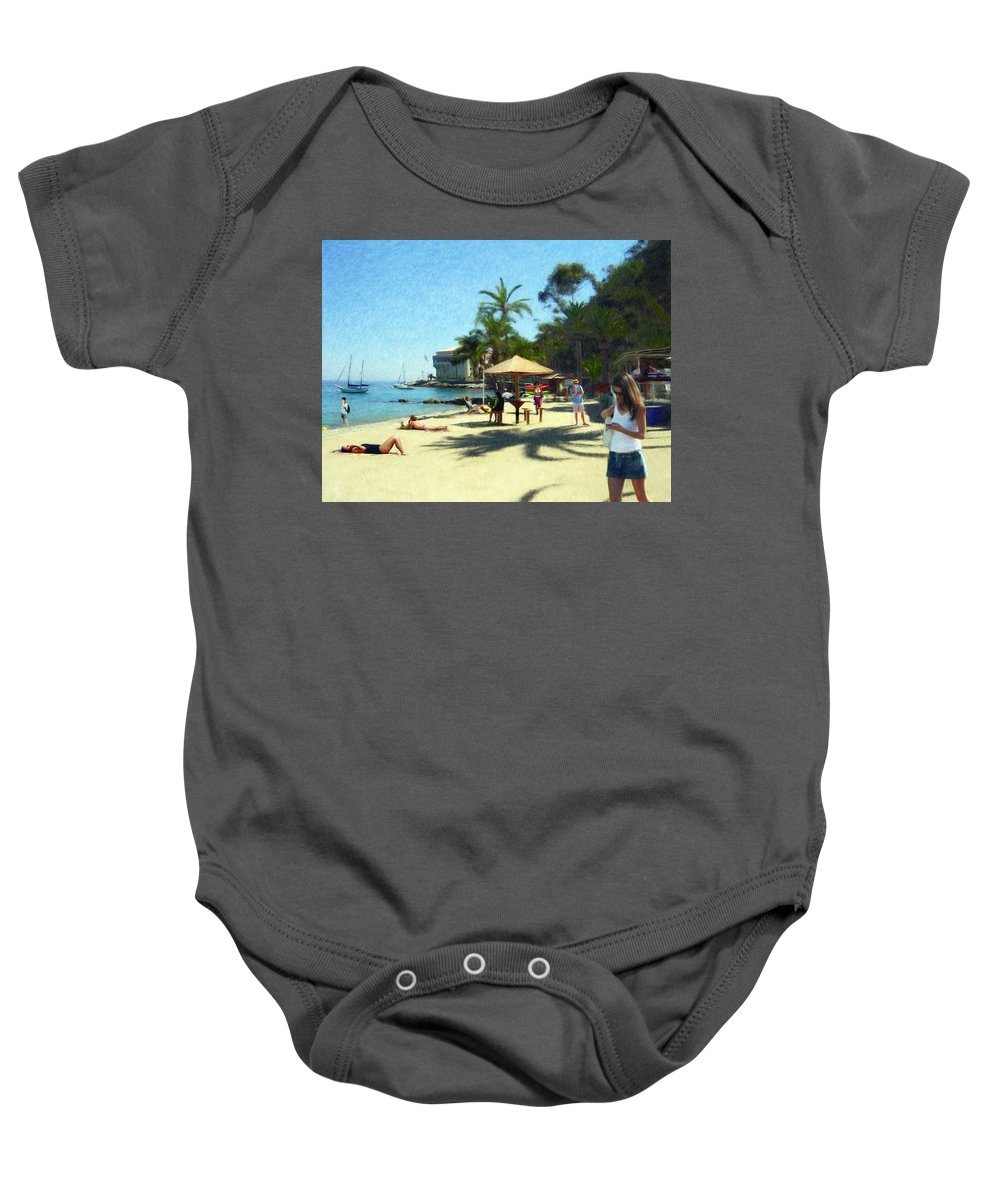 Beach Baby Onesie featuring the digital art Day At The Beach by Snake Jagger