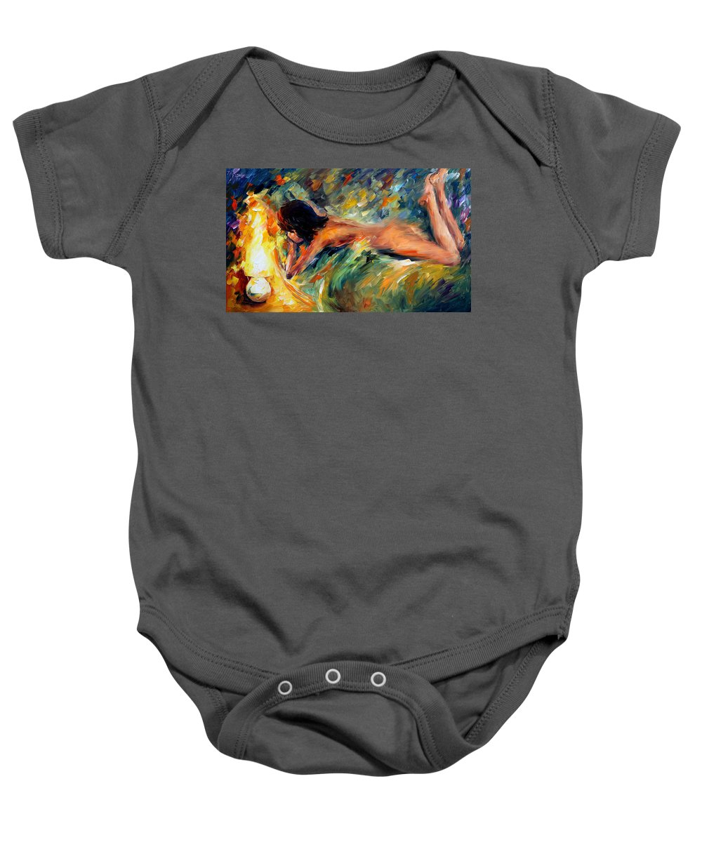 Woman Baby Onesie featuring the painting Daydream by Leonid Afremov