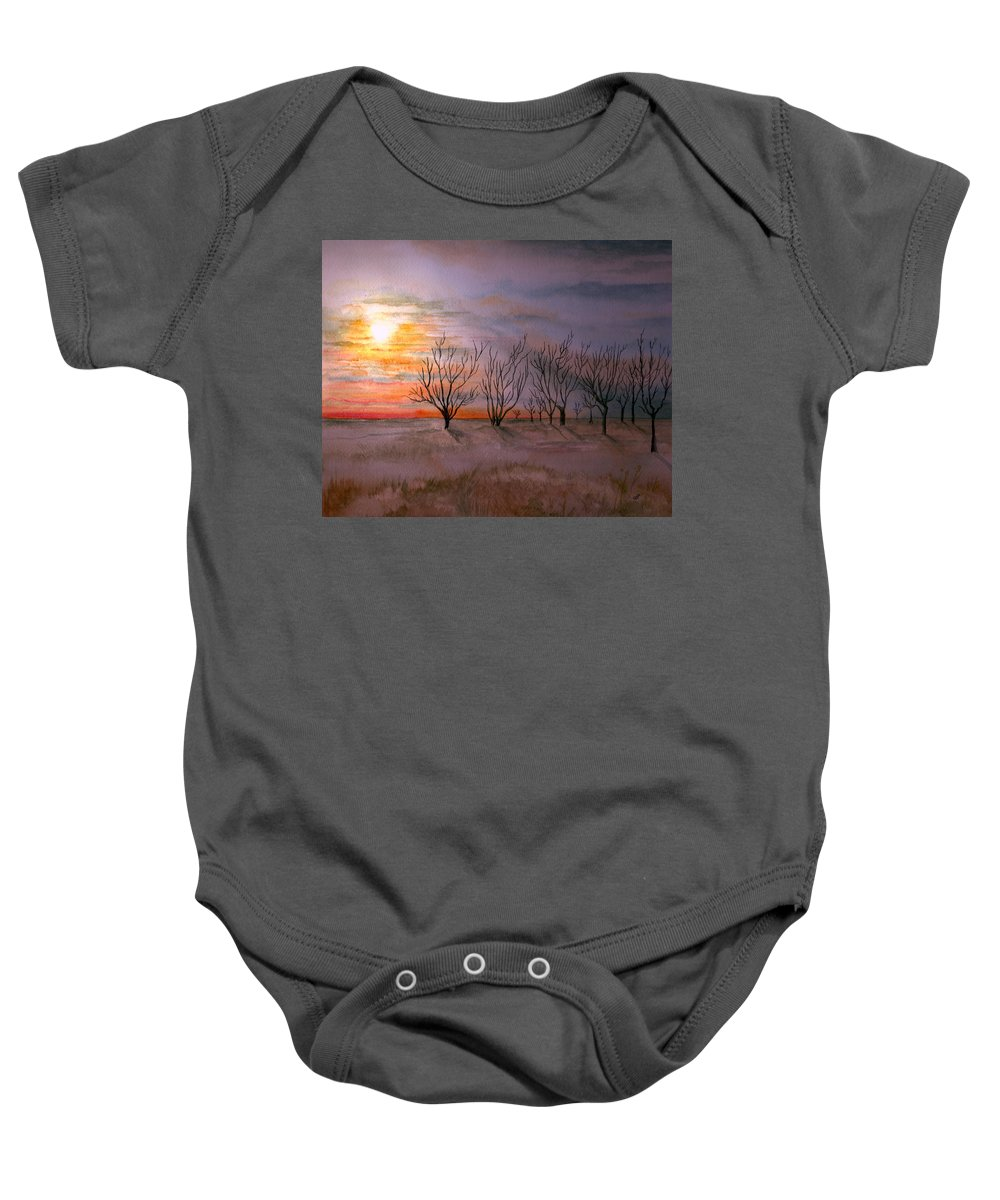Watercolor Landscape Sundown Sunset Sky Trees Scenic Scenery Nature Clouds Baby Onesie featuring the painting Day's End by Brenda Owen
