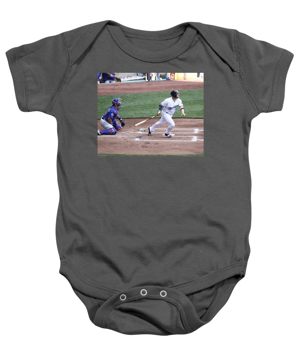 Milwaukee Brewers Baby Onesie featuring the photograph Stephen Vogt by Steve Bell