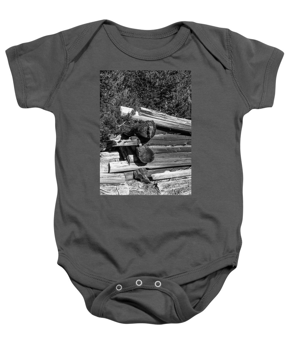 Ruins Baby Onesie featuring the photograph Ddp Djd B And W 1880s Log Cabin Ruins Montana 2 by David Drew