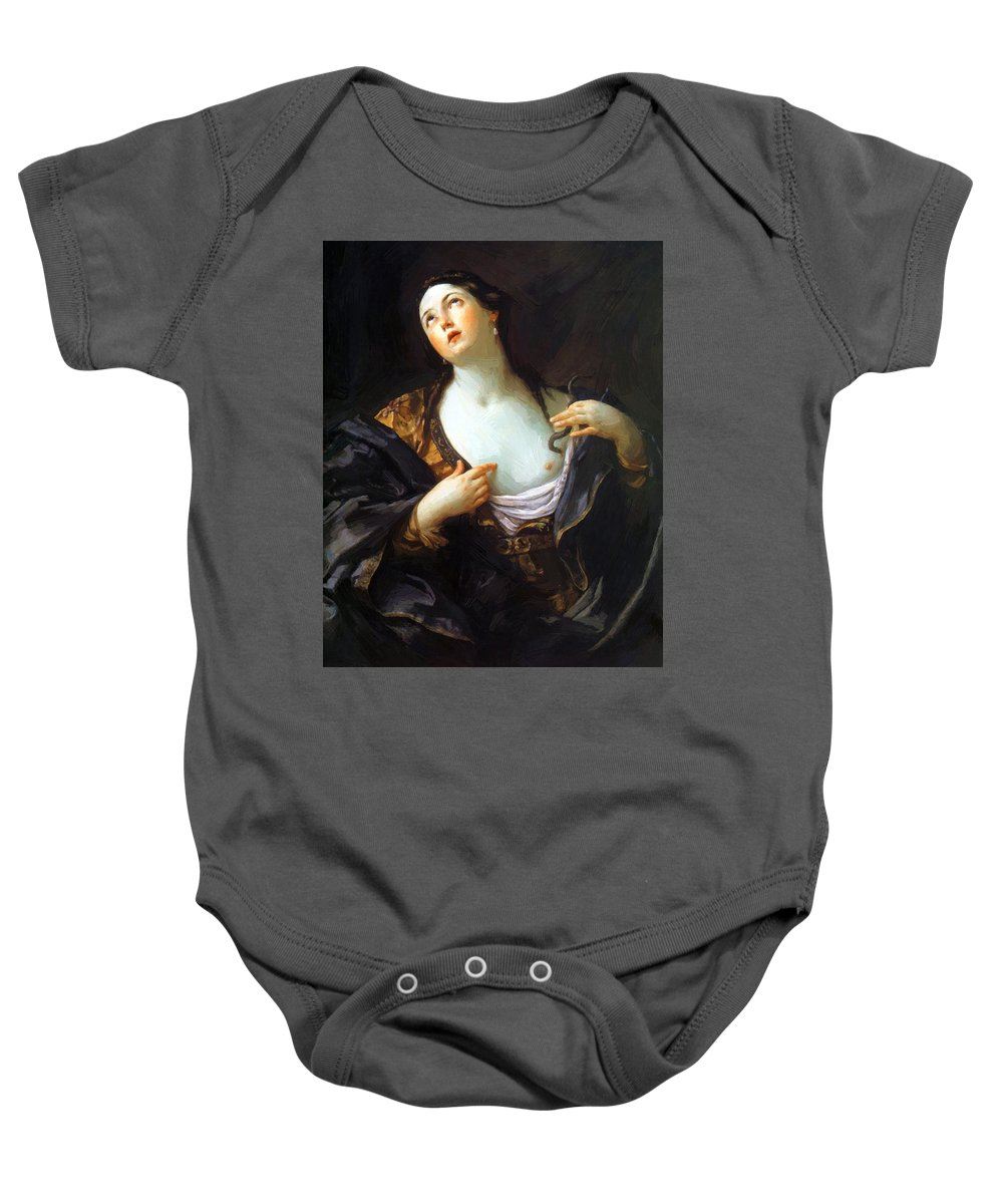 Death Baby Onesie featuring the painting Death Of Cleopatra 1598 by Reni Guido