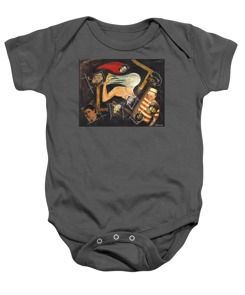 Portrait Self Confusion Baby Onesie featuring the mixed media deconstructing Dorian Gray by Veronica Jackson