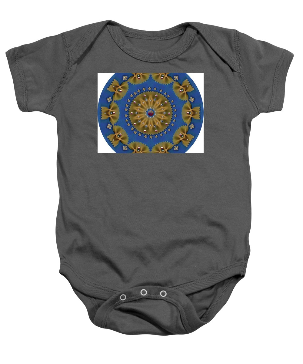 Pasta Baby Onesie featuring the mixed media Decorative Pasta Collage by Pepita Selles