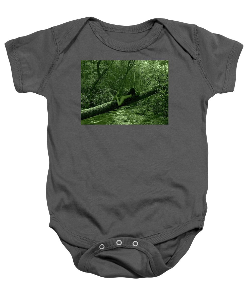 Charcoal Baby Onesie featuring the photograph Deep Green by Ms Martino