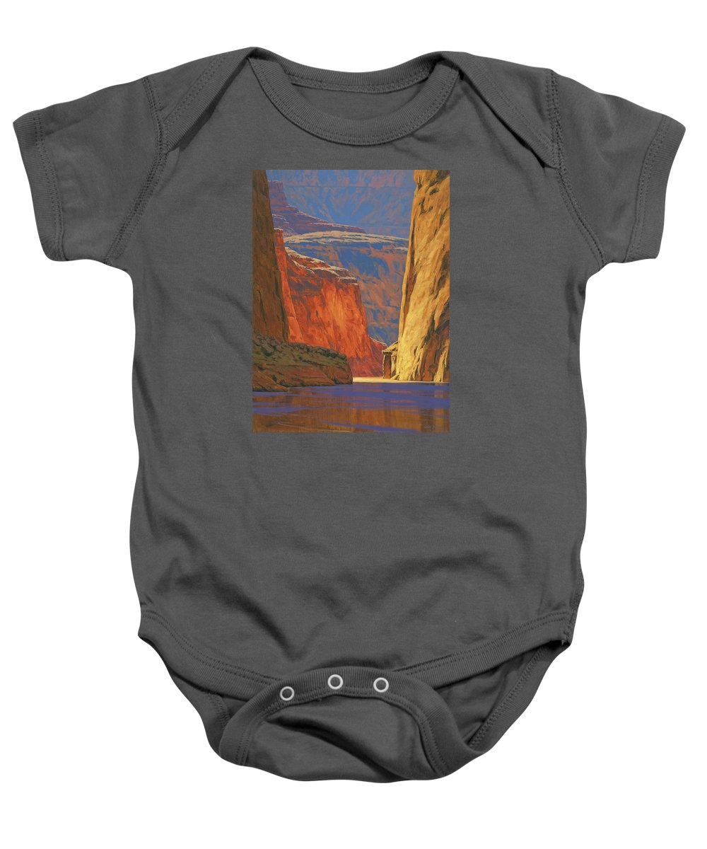 Grand Canyon Baby Onesie featuring the painting Deep In The Canyon by Cody DeLong