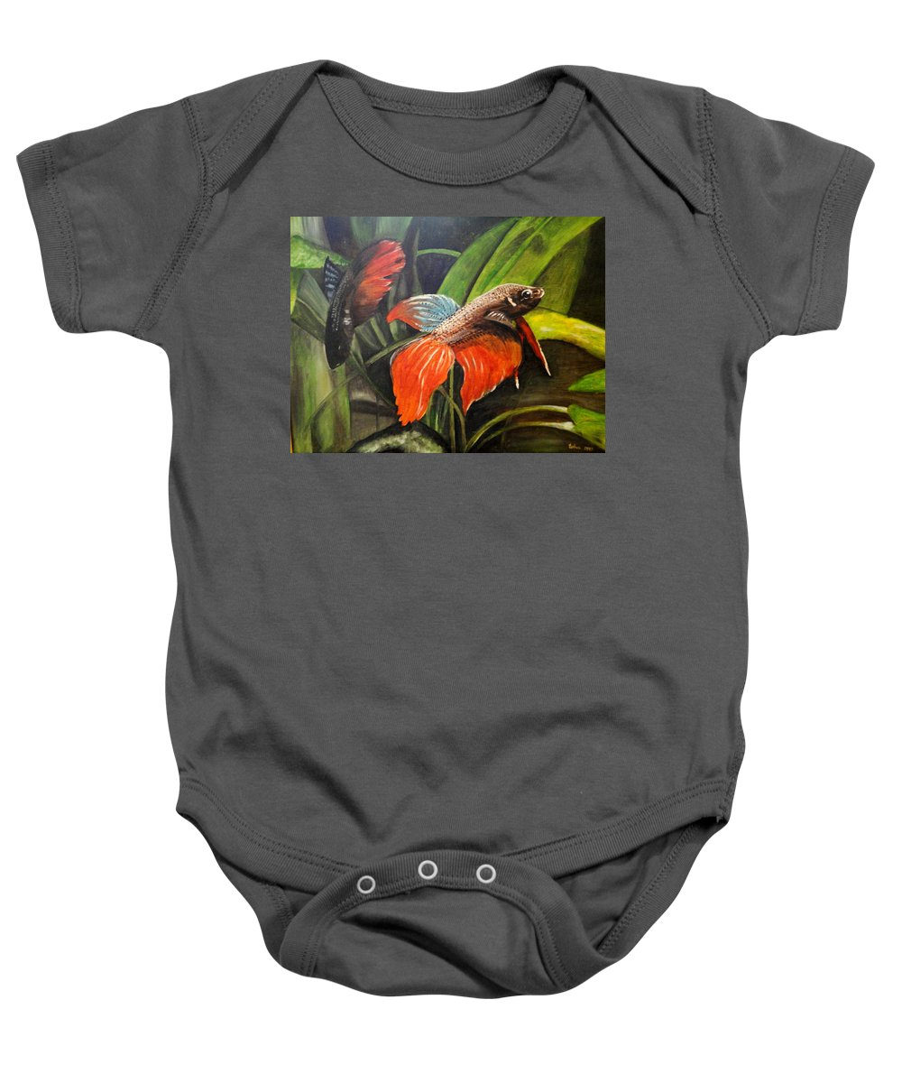 Fish Baby Onesie featuring the painting Deep Sea Fish by Usha Shantharam