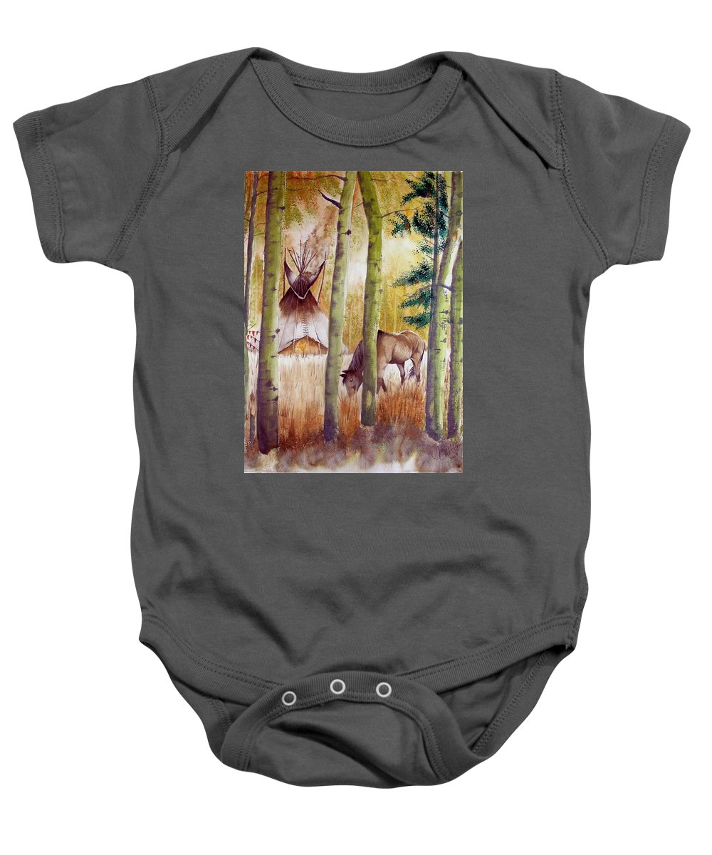 American Baby Onesie featuring the painting Deep Woods Camp by Jimmy Smith