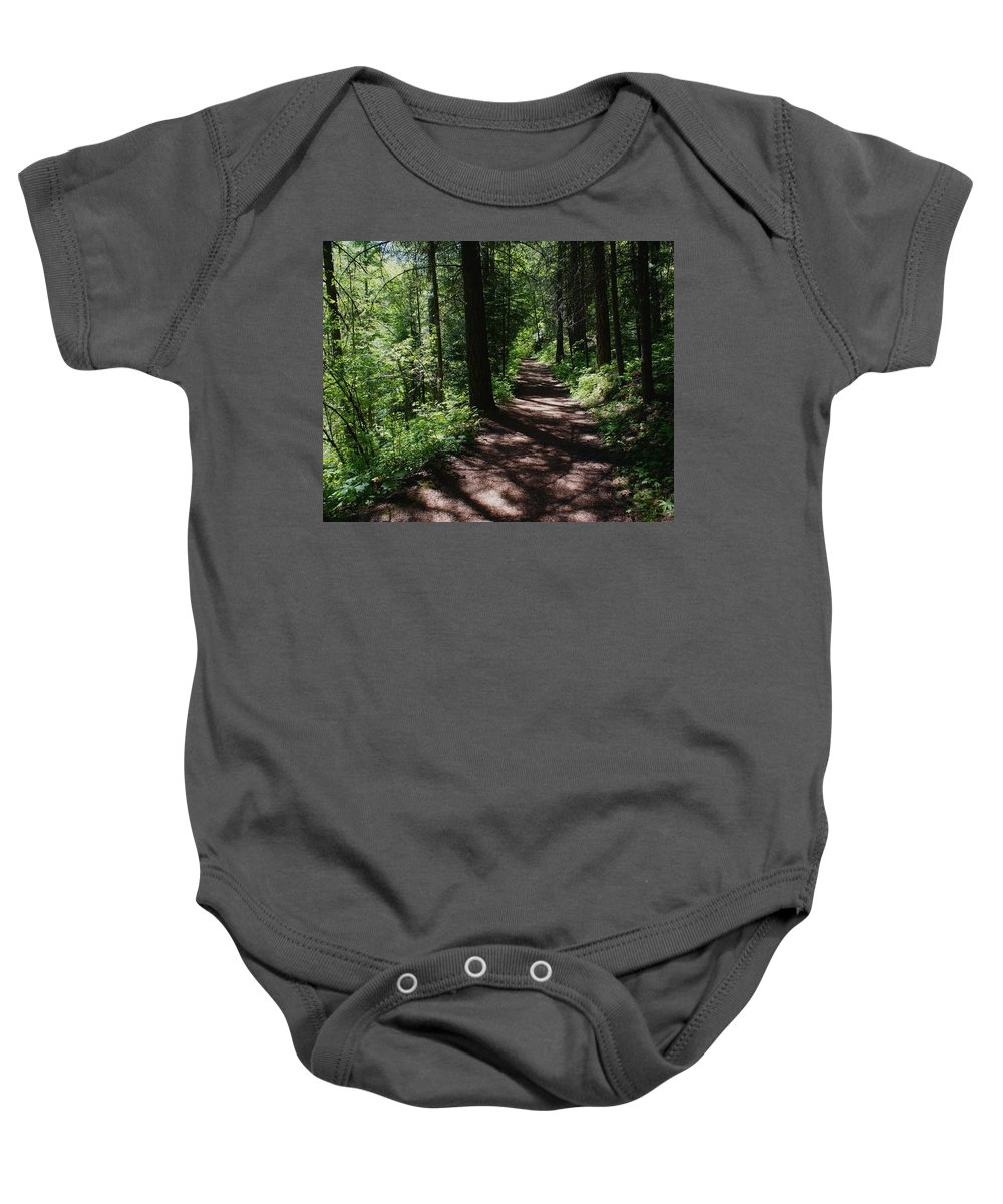 Nature Baby Onesie featuring the photograph Deep Woods Road by Ben Upham III