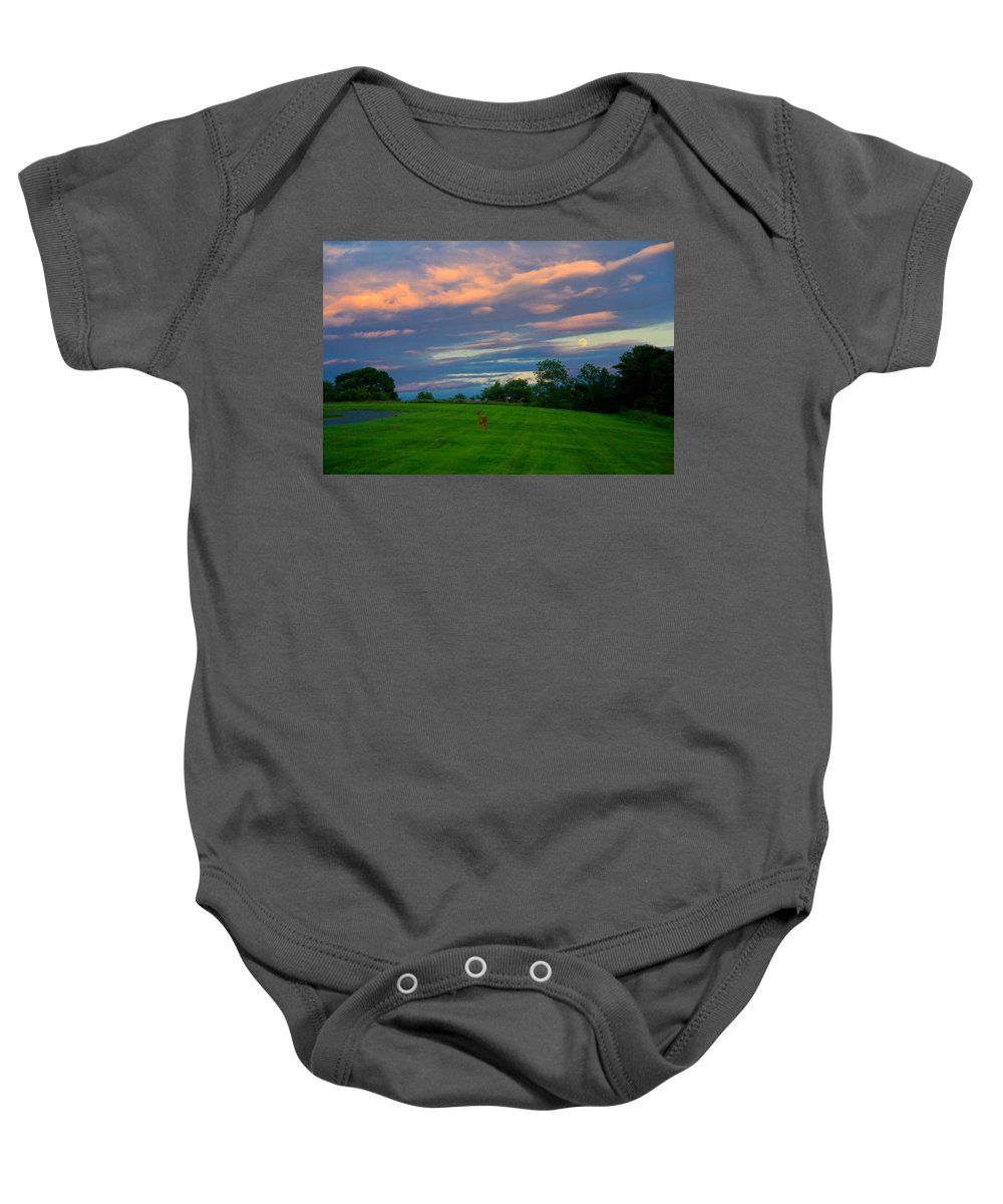 Deer Baby Onesie featuring the photograph Deer And Rising Moon by Irwin Barrett