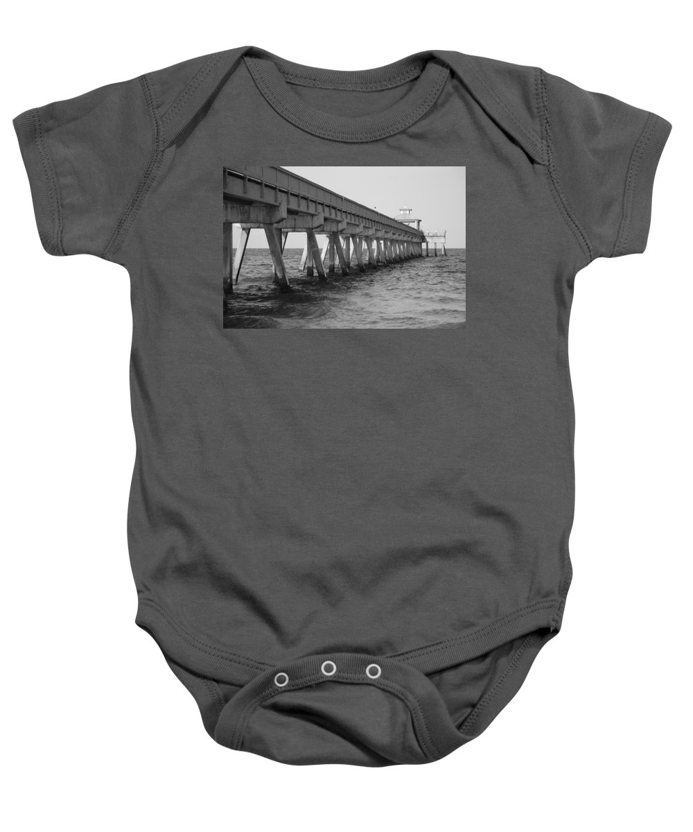 Architecture Baby Onesie featuring the photograph Deerfield Beach Pier by Rob Hans
