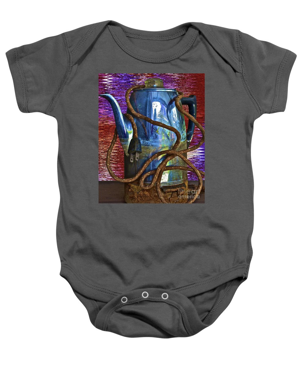Coffee Baby Onesie featuring the photograph Deja Brew by Gwyn Newcombe