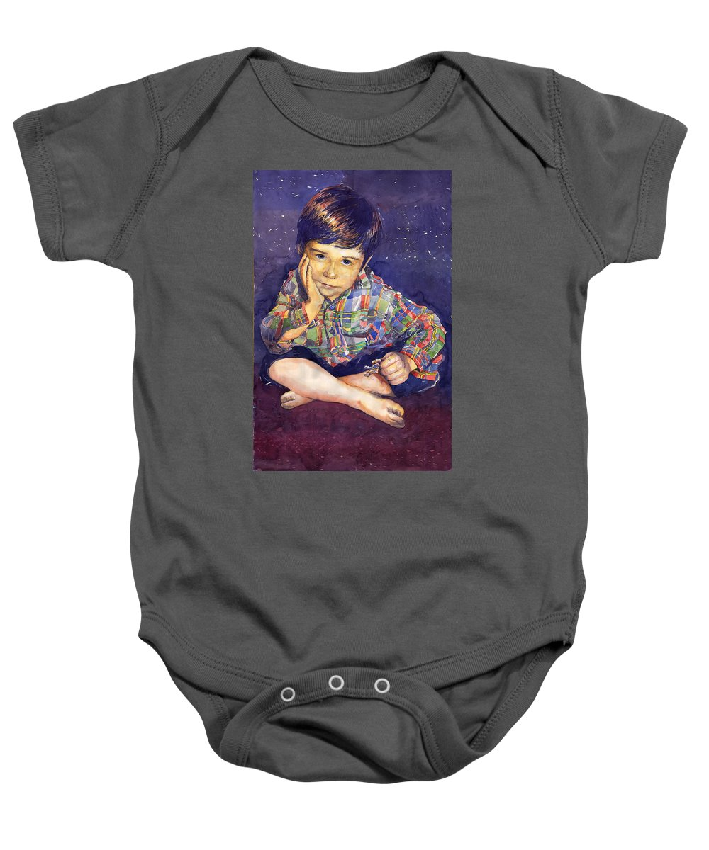 Watercolor Watercolour Portret Figurativ Realism People Commissioned Baby Onesie featuring the painting Denis 01 by Yuriy Shevchuk