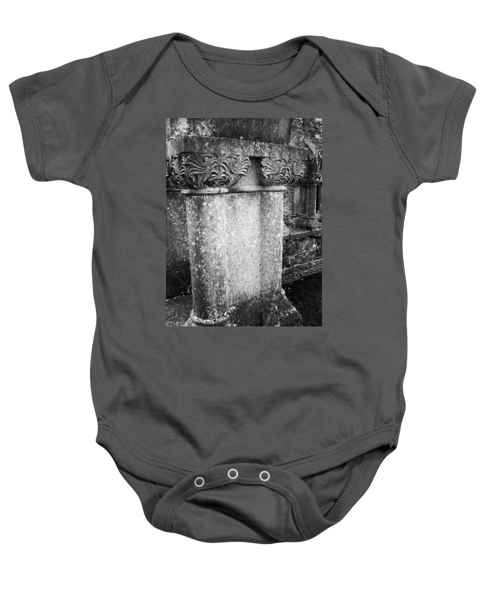 Irish Baby Onesie featuring the photograph Detail Of Capital Of Cloister At Cong Abbey Cong Ireland by Teresa Mucha