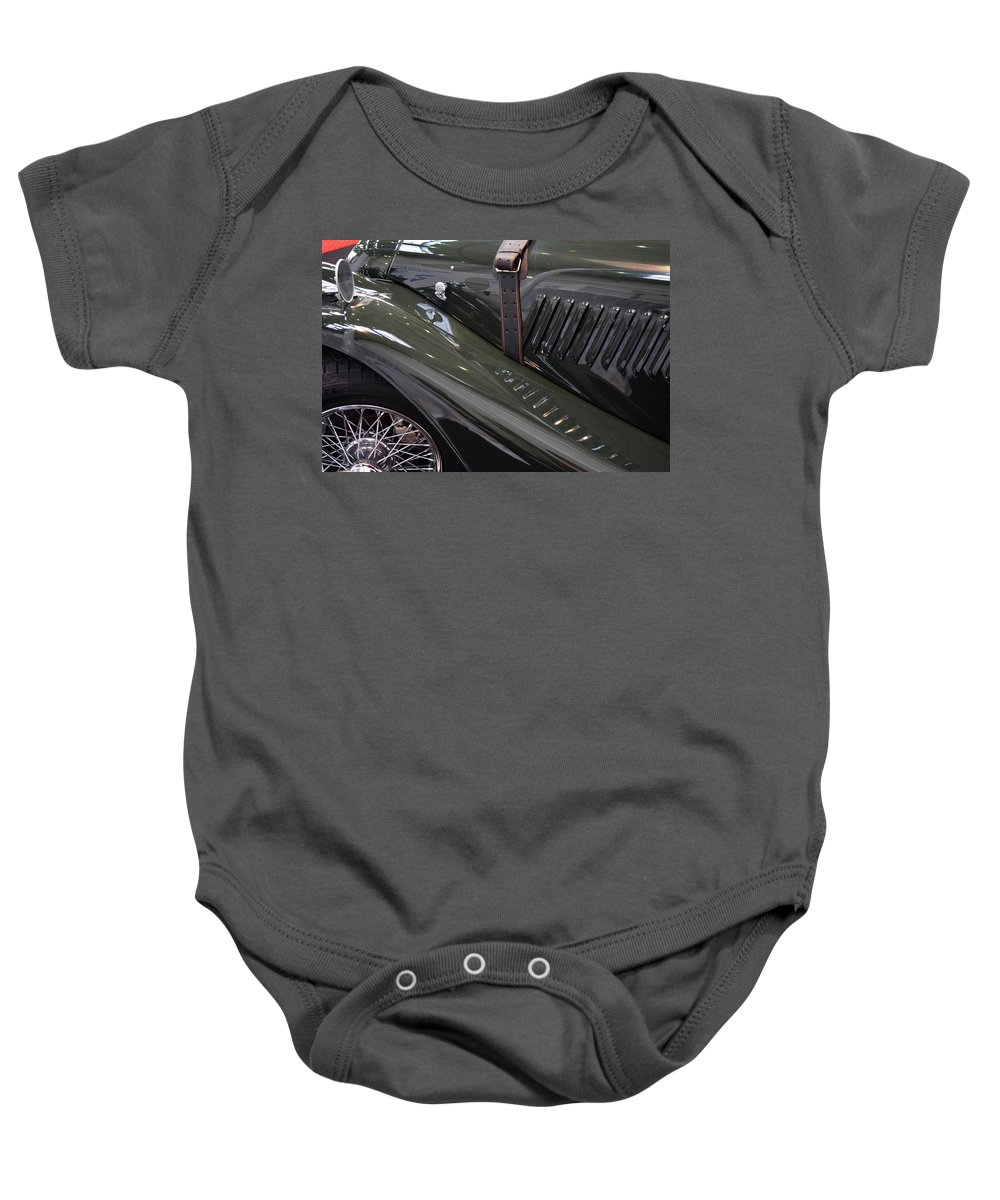 Car Baby Onesie featuring the photograph Detail Of Classical Green Vintage Car Hood. by Oana Unciuleanu