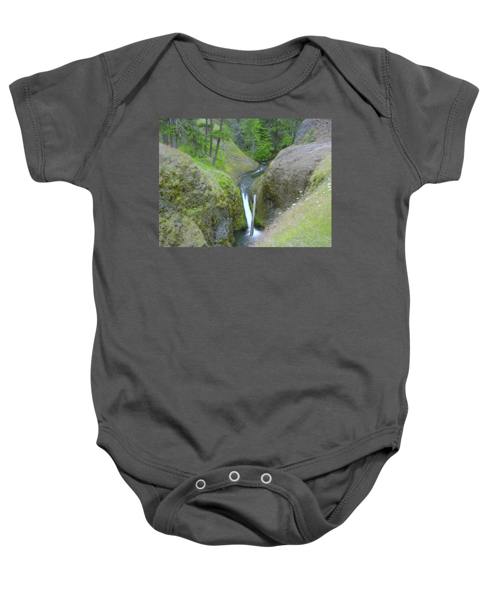 Creeks Baby Onesie featuring the photograph Devil Creek Falls  by Jeff Swan