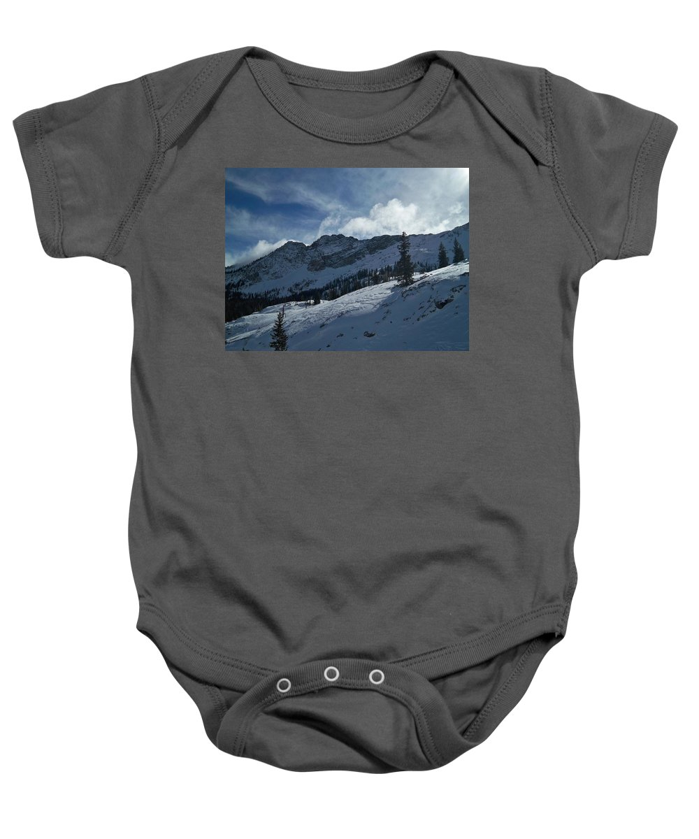 Ski Baby Onesie featuring the photograph Devils Castle Morning Light by Michael Cuozzo